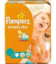 Pampers Windeln Simply Dry (EUR 0,18 / Stück)