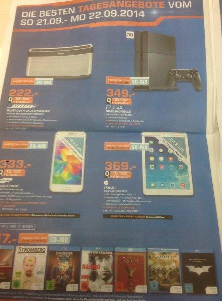 Tagesangebote 100 Tage Saturn Hennef - Samsung 55H6270 699€, S5 mini 333€, PS4 349€, Ipad Air 369€....