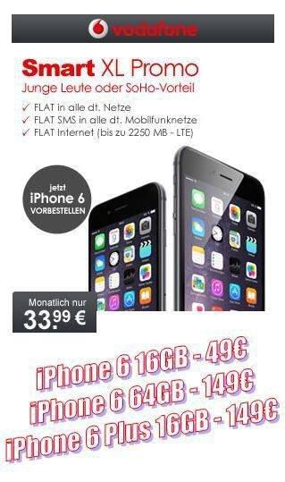 [Lokal Wuppertal + eMail Abschluss möglich ] Vodafone Smart XL für junge Leute 2,25GB & Selbstständige 1,75GB + iPhone 6 ab 49€|33,99€ Monatlich