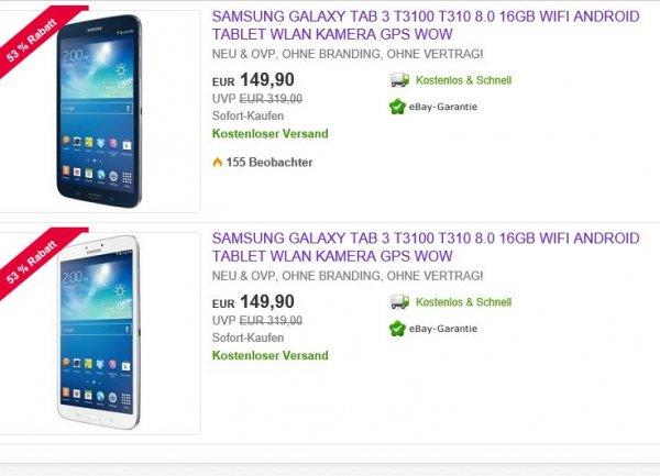 Samsung Galaxy Tab 3 8.0 eBay WOW