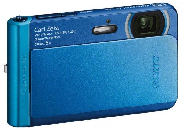 Sony DSC-TX30 Digitalkamera (18,2 Megapixel, 5-fach opt. Zoom, 8,3 (3,3 Zoll) Touchscreen, Full-HD, micro HDMI) blau