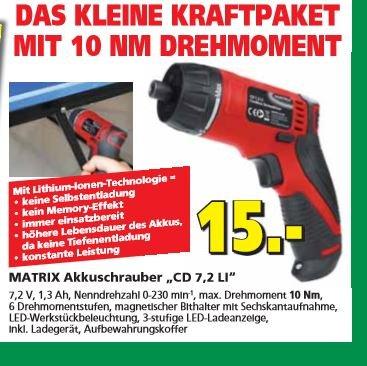 Akku Schrauber Matrix 7,2 V Hela Baumarkt