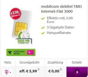 Telekom 3GB mit Wlan Hotspot-Flatrate - Getmobile - Mobilcom-Debitel 5,99