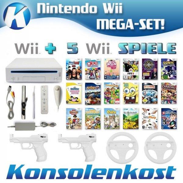 Wii - Konsole + 5 Spiele (inkl. Remote + Nunchuk & großes Zubehörpaket) B-Ware