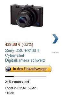 Amazon Blitzangebot: Sony RX100 MK2 439€ -Idealo vgl. 514€