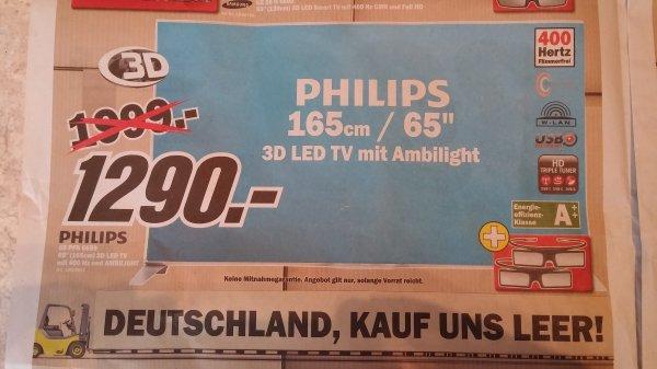 Philips 65PFS6659 164 cm (65 Zoll) 3D LED-TV, Full HD, 400 Hz, Triple Tuner, Smart TV, Wifi, Ambilight