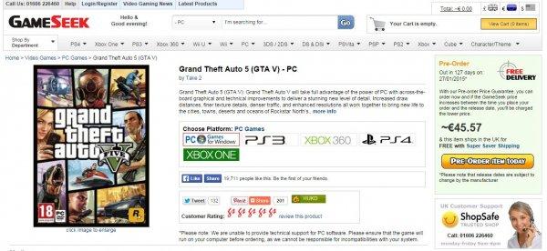 GTA V vorbestellen ~45€ aus UK