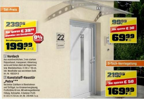 OBI: Kunststoff-Haustür 110*210cm mit Stahlrahmen, 5fach-Verriegelung 169,99 Euro
