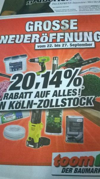 [lokal] Toom Köln-Zollstock 20,14%* auf alles
