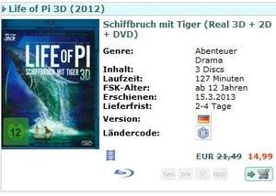 [CeDe.de] 3D Blu-ray z.B. Life of Pi ; Avatar ; Prometheus 3D für 14,99€ inkl. VSK