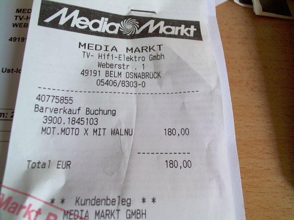 [Mediamarkt Osnabrück/Belm] Motorola Moto X 16GB 1.Gen 180€