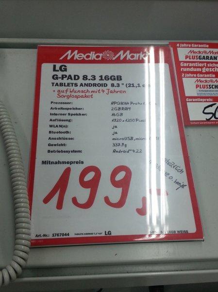 [lokal Halle Center Peißen] LG G Pad 8.3 schwarz/weiß für 199€ im MediaMarkt