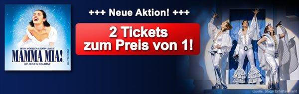 2 für 1-Aktion für MAMMA MIA! Musical in Stuttgart  bis 29.09. 42€-105€ je nach Kat.