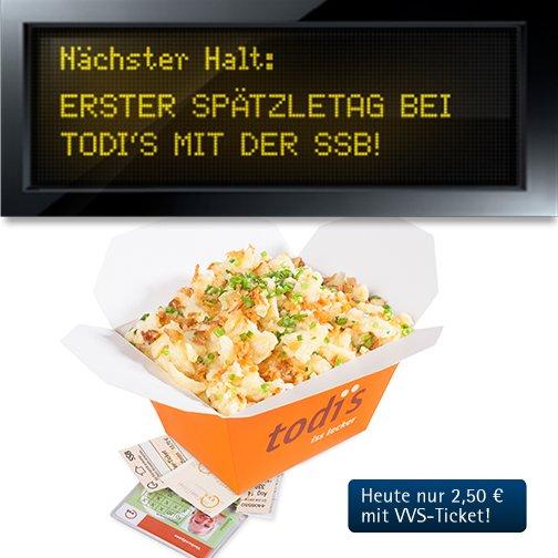 [Lokal Stuttgart] Käsespätzle bei todi's für 2,50 € mit VVS Ticket (statt 5,90 €)