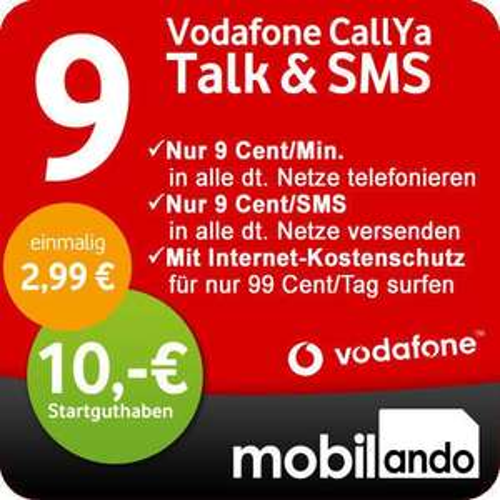 [eBay] Vodafone CallYa Prepaid SIM-Karte mit 10 Euro Startguthaben (PSN)