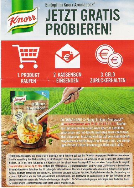 Knorr Eintopf gratis testen