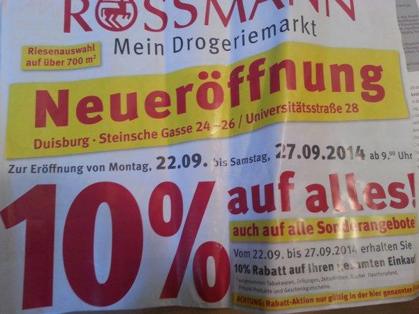 Lokal Rossmann Duisburg Altstadt 10% auf (fast) alles