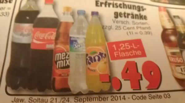 [Jawoll bundesweit] 1,25l Cola, Fanta, Sprite und Co. für 0,49€
