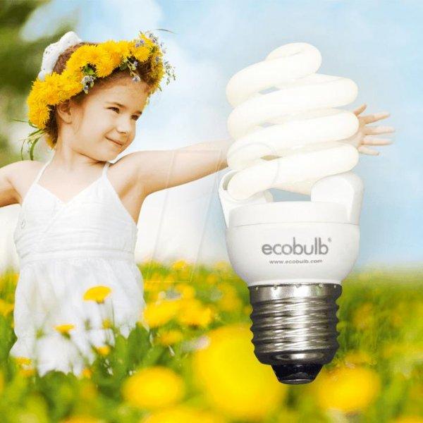 Ecobulb E27 Energiesparlampen im 4er Set - 8W, 12W, 15W und 20W warmweiß OHNE flüssiges Quecksilber!