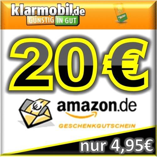 Wieder da: Amazon Gutscheine. Dieses mal 20,- Amazon für 4,95 € plus 15,- Startguthaben (klarmobil)