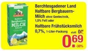 [V-Markt / nur MUC] Berchtesgadener Land: haltbare Milch 0,7% und 1,5% - 0,69€