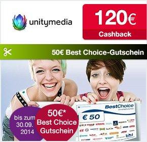 Qipu: Unitymedia – 2play PLUS 100 – 120€ Cashback + 50€ BestChoice Einkaufsgutschein + 30€ AG Befreiung