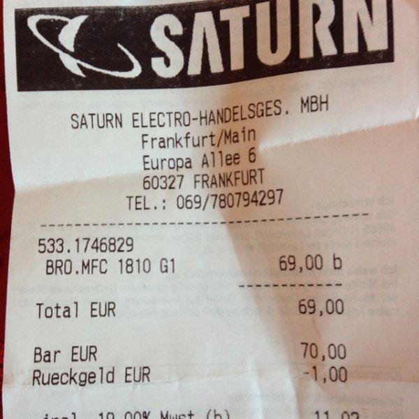 Brother MFC 1810 Multifunktions-Laserdrucker s/w mit Einzeleinzug fuer 69 eu lokal Saturn Frankfurt Skyline Plaza