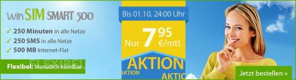 WinSIM Smart 500 o2 Netz - 250 Minuten, 250 SMS, 500MB  Internet, monatlich kündbar, pro Monat 7,95€