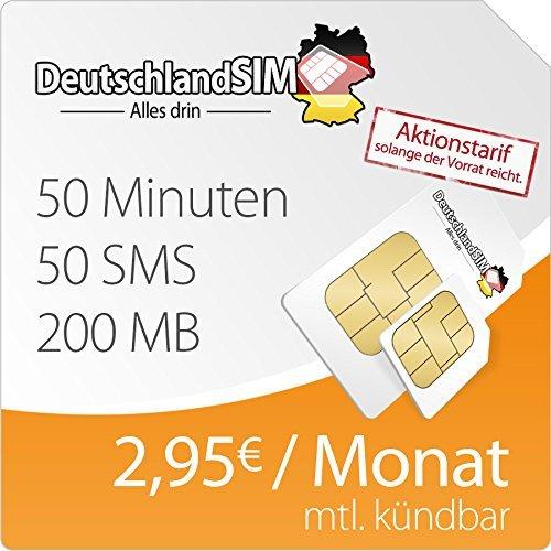 [Amazon Prime] DeutschlandSIM SMART 200 (200MB, 50 Frei-Minuten, 50 Frei-SMS, 2,95 Euro/Monat, 15ct Folgeminutenpreis) O2-Netz