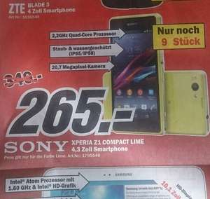 [Lokal MM Friedrichshafen] Sony Xperia Z1 Compact Lime, Idealo.de ab 339€ / + weitere Angebote