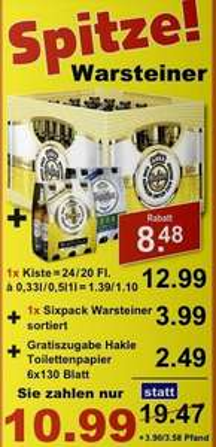 Regional bei K+K: Kiste Warsteiner, gratis dazu: Sixpack Warsteiner(alle Sorten) und Hakle Toilettenpapier 6*