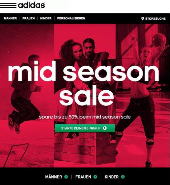 adidas Mid Season Sale mit bis zu 50% Rabatt, 15% Gutschein (Newsletteranmeldung) und 7% Cashback (Qipu)