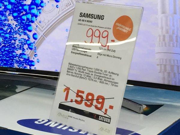 Curved Full HD Samsung UE 48H8090 bei Saturn Berlin 25% billiger als Amazon
