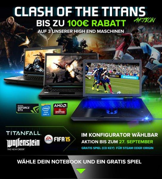 Gaming Notebooks mit 50 und 100 Euro Rabatt + Gratis Spiel Fifa 15, Wolfenstein oder Titanfall