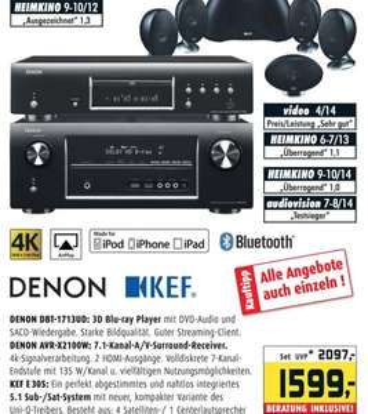Denon DBT-1713UD Blu-ray Player + Denon AVR-X2100W AV-Receiver + KEF E 305 für 1599,- € bei den Hifi-Profis im Rhein-Main-Gebiet