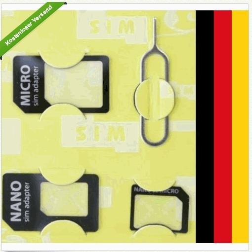 Sim Karten Adapter Nano Micro zu Normal Simkartenadapter Standard NEU von NOOSY wieder für 1.- € incl. VSK (Versand aus D)