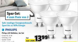 Philips LED GU10 2W=35W warmweiß Reflektor, 4er-Set