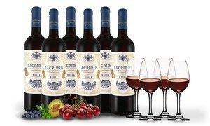 """[Groupon] 6 Flaschen Rotwein Rioja """"Lacrimus"""" + 4 Spiegelau Weingläser"""