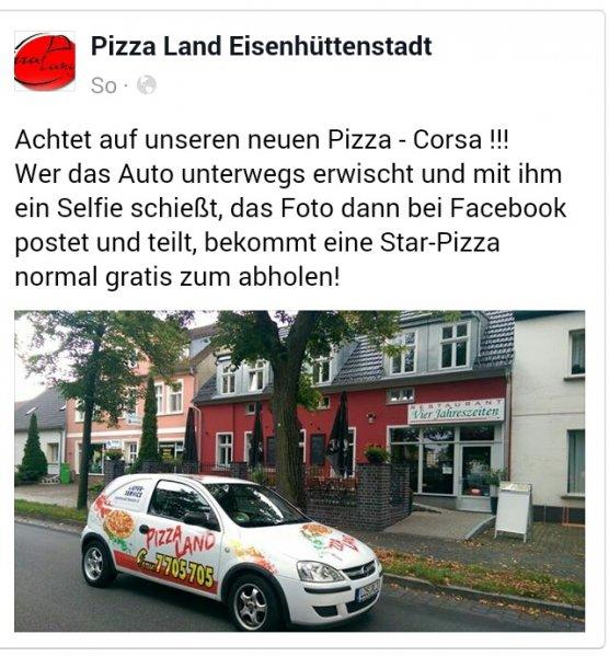 [Lokal] Pizzaland -Gratis Pizza in Eisenhüttenstadt