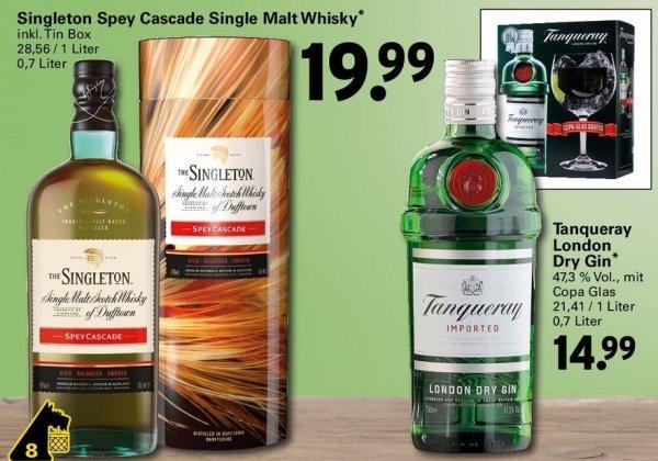 [Netto Supermarkt] Tanqueray London Dry Gin 0.7L + Copa Glas für 14,99€ &  Singleton of Dufftown Spey Cascade 0.7L für 19,99€