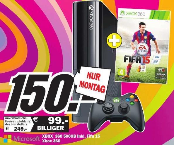 Microsofts XBOX 360 (500GB) mit FIFA 15 bei MediaMarkt lokal für EUR 150,-