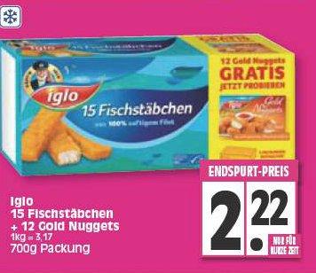 Vorteilspackung 700g - Iglo 15 Fischstäbchen + 12 Gold Nuggets  - Edeka (Region Minden-Hannover)