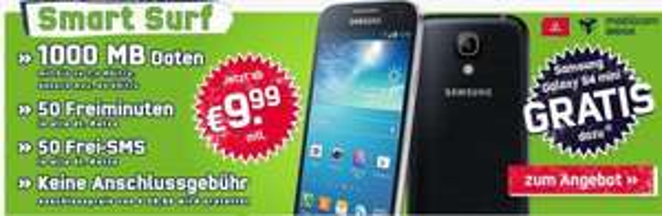 Samsung Galaxy S4 mini + Vodafone Smart Surf 9,99€/Monat (50 Min, 50 SMS, 1000 MB) für 0 € oder bei Verkauf des Handy effektiv ~1,25 € im Monat