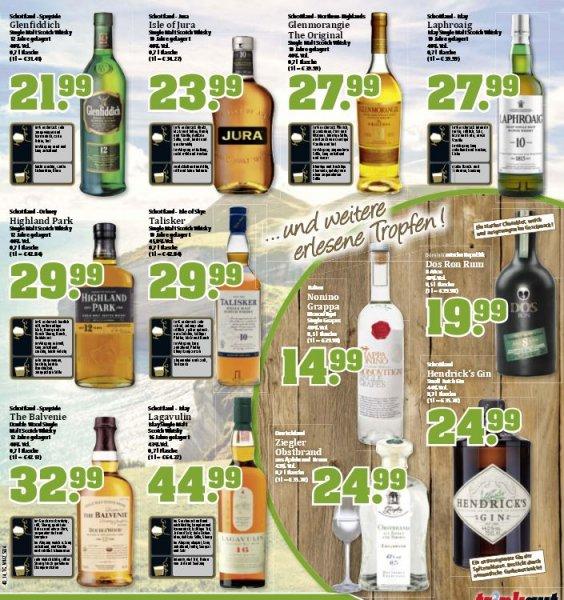 [Trinkgut] div. Whisky Angebote - Glenmorangie 27,99€, Glenfiddich 21,99€, Laphroaig 27,99€, Talisker 29,99€, Isle of Jura 23,99€, etc