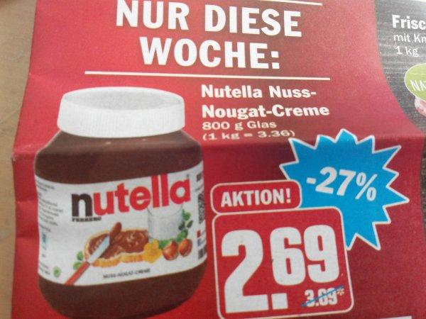 Hit Markt (da, wo es ihn gibt) Nutella 800 gramm 2,69€