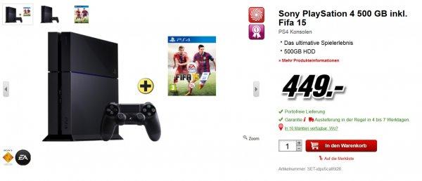 Playstation 4 500GB + FIFA 15 *GRENZGÄNGER* ~371€