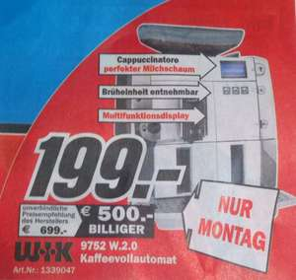 [LOKAL MM Neustadt/Weinstraße] WIK 9752 W.2.0 Kaffevollautomat  nur 29.09.