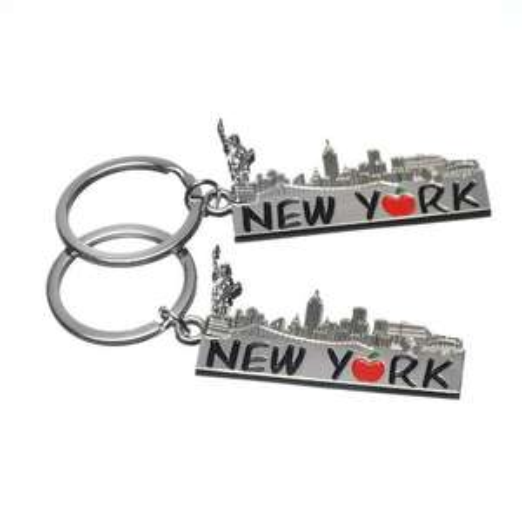 "2x Big Apple ""New York"" Skyline Landmarks Souvenir Gift Metal Keychain-Set of 2"