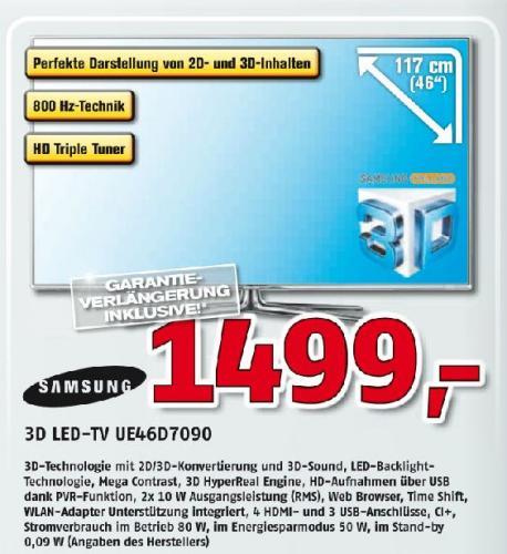 Samsung 3D LED TV UE46D7090 (46 Zoll) inkl. 5 Jahre Garantie @ Alpha Tecc [Lokal]