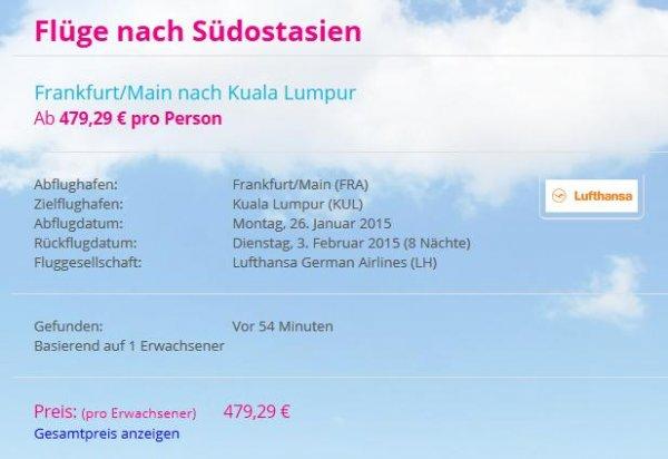 Direktflug mit Lufthansa Frankfurt/Main - Kuala Lumpur | Hin und zurück für 479,29 €